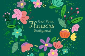 可爱彩绘花卉花环矢量素材