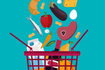 创意落满食物的购物篮矢量素材