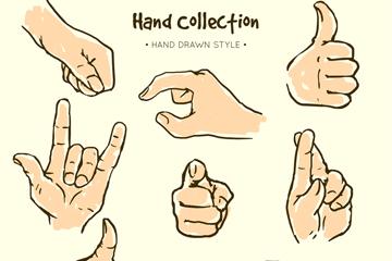 8款彩绘手势设计矢量素材