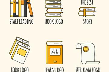 6款手绘书籍标志矢量素材