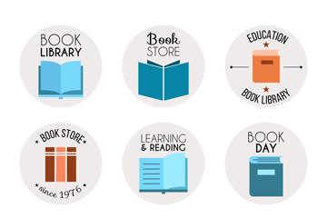 9款彩色书籍标志矢量素材