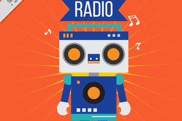 可爱机器人收音机矢量素材