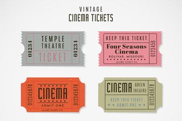 6款复古电影票设计矢量素材