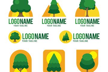 8款创意绿色树木标志矢量图
