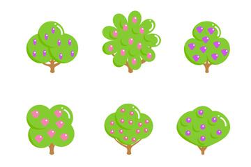6款结满果实的浆果类果树矢量图