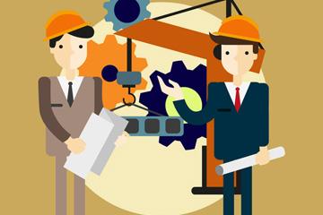 2名创意在工地的建筑师矢量图