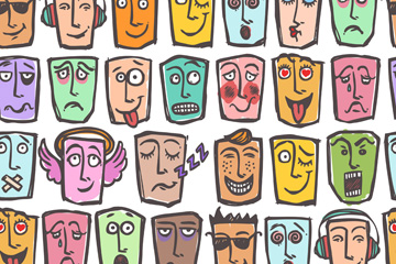 抽象表情面具无缝背景矢量素材