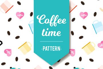 彩色扁平化咖啡无缝背景矢量图