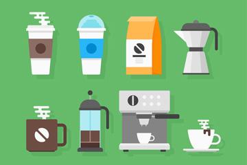 8款扁平化咖啡店物品矢量素材