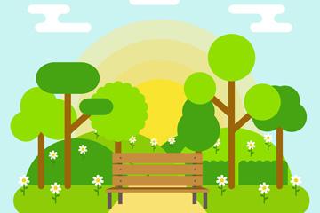 扁平化春季郊外�L椅�L景矢量素材