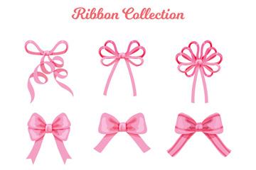 9款粉色丝带蝴蝶结矢量素材