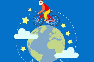 环绕地球骑自行车旅行的男子矢量图