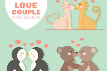 3款可爱亲吻的动物情侣矢量图