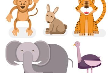 5款创意笑脸野生动物矢量素材