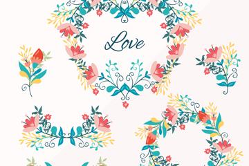 6款彩绘花束和花环矢量素材