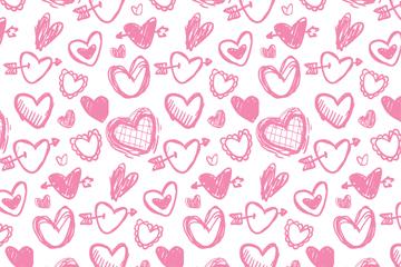 彩绘粉色爱心无缝背景矢量图