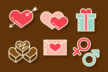 9款精致情人节元素矢量素材