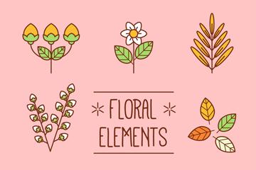 8款扁平化花卉和叶子矢量素材
