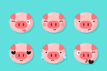 9款可爱小猪表情头像矢量素材