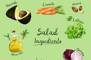 9款彩绘沙拉原料矢量素材