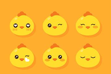 9款可爱小鸡表情头像矢量素材