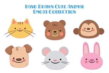 9款彩绘可爱动物表情头像矢量图