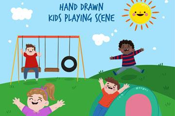 4款彩绘郊外玩耍的儿童矢量素材