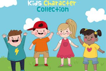 4个玩耍的笑脸儿童矢量素材