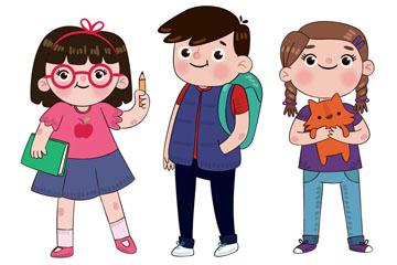 3个可爱儿童设计矢量素材