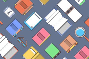 创意书本和手机无缝背景矢量图