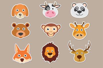 12款创意动物头像贴纸矢量素材
