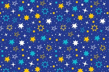 彩绘闪耀星星无缝背景矢量素材