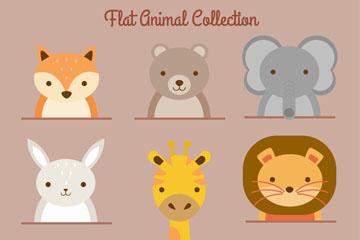 8款可爱笑脸动物头像矢量素材