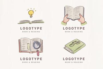 6款彩绘书本标志矢量素材
