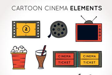 9款彩绘电影元素图标矢量图