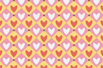 菱形格里的爱心无缝背景矢量图