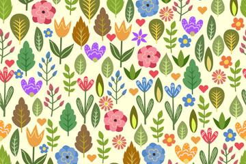 彩色花卉和树木无缝背景矢量图