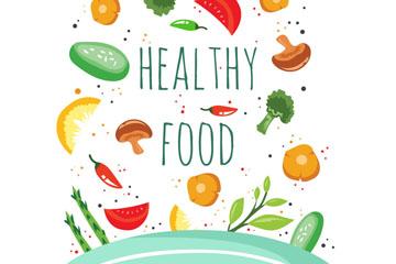 创意落入锅中的健康食材矢量图