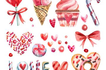 10款水彩绘爱心糖果矢量素材
