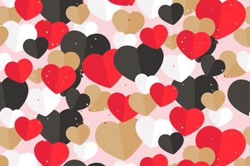 彩色扁平化爱心无缝背景矢量图