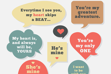 8款创意婚礼语言气泡矢量素材
