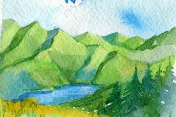 水彩�L山中湖泊�L景矢量素材