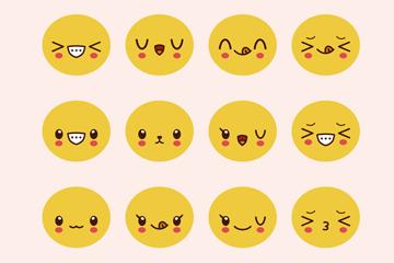 12款可爱圆脸表情矢量素材