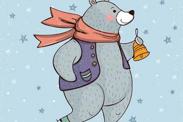 彩绘溜冰摇铃铛的熊矢量图