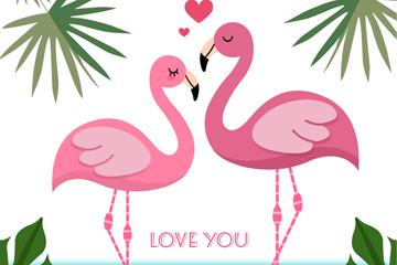 粉色火烈鸟情侣矢量素材