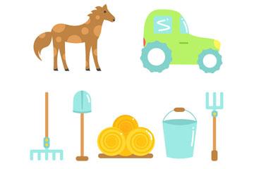 7款彩色农场元素矢量素材