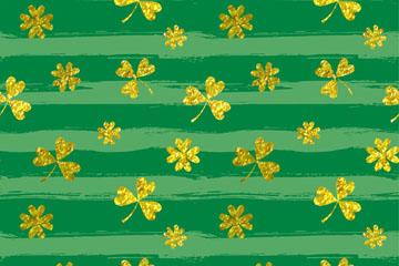 金色三叶草和四叶草无缝背景矢量