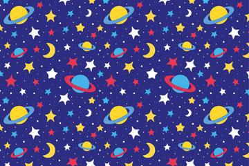 彩绘宇宙星体无缝背景矢量图