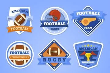 9款蓝色美式足球俱乐部标签矢量