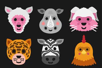 9款彩绘动物头像面具矢量素材
